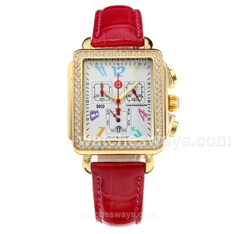 Replik Michele DECO Working Chronograph Diamond Bezel Yellow Gold Case with White Dial-Red Leather Strap 212246