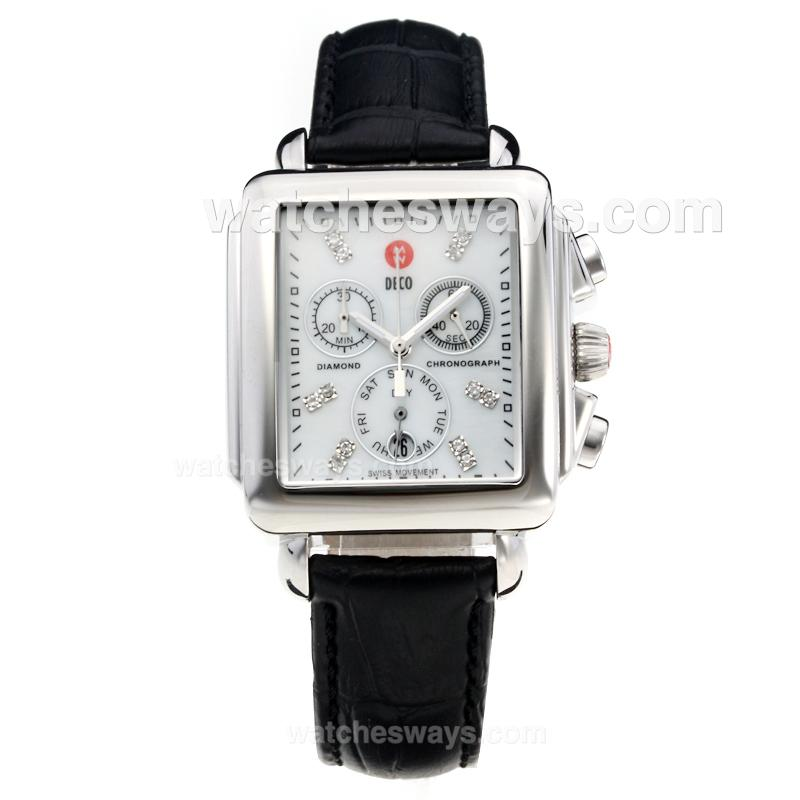 Replik Michele DECO Working Chronograph with White Dial-Leather Strap-2 212264