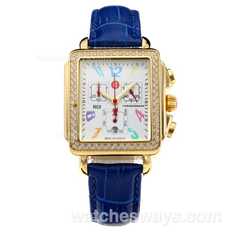 Replik Michele DECO Working Chronograph Diamond Bezel Yellow Gold Case with White Dial-Blue Leather Strap 212244