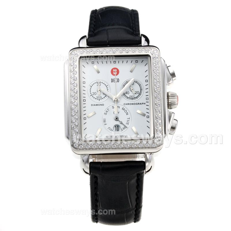 Replik Michele DECO Working Chronograph Diamond Bezel with White Dial-Leather Strap 212262