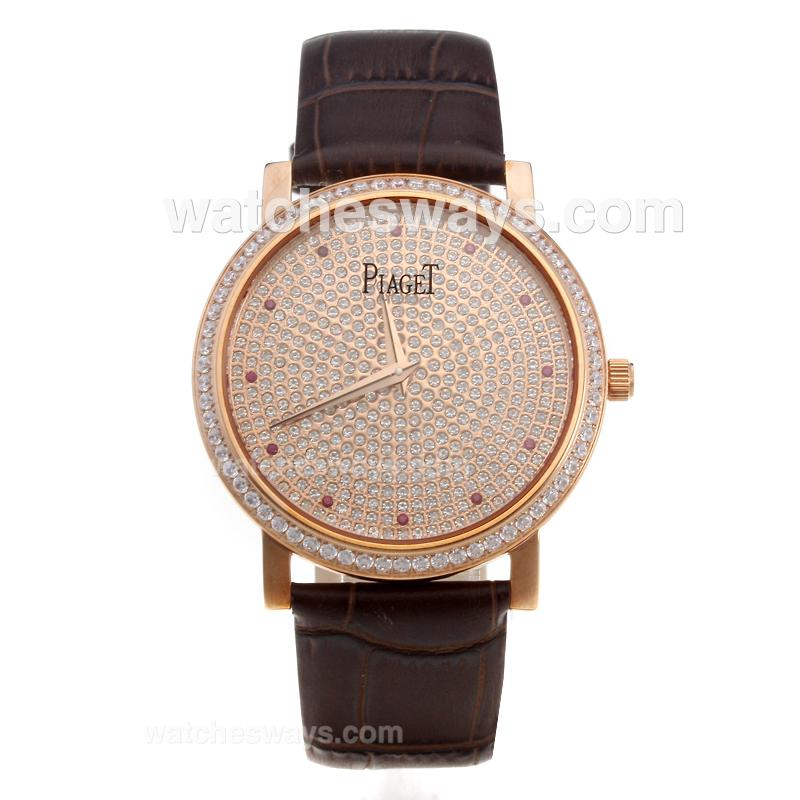Réplique Piaget Altiplano Montre Mouvement Eta Suisse En Or Rose Cas Lunette Sertie De Diamants Et Le Cadran - Marques Rouges Couple De Montre 220184