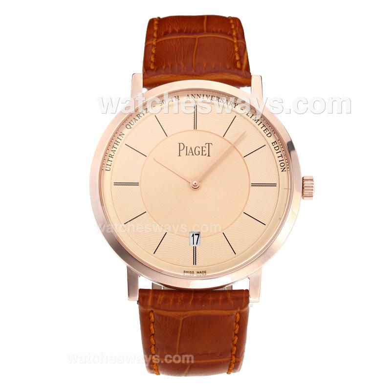 Replik Piaget Altiplano Rose Gold Case with Champagne Dial Leather Strap 194916
