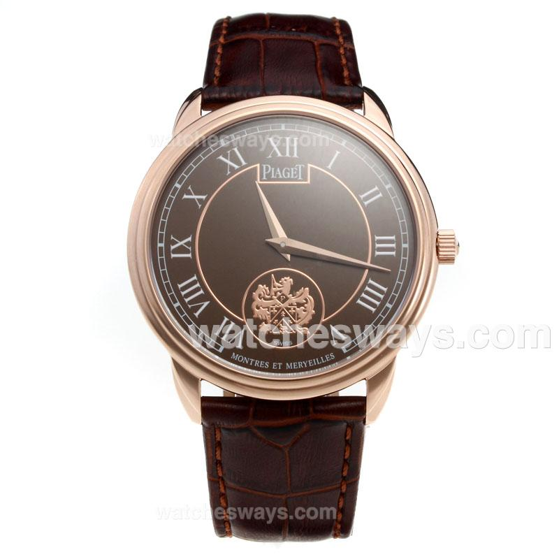 Replik Piaget Altiplano Rose Gold Case with Brown Dial-Leather Strap 215854