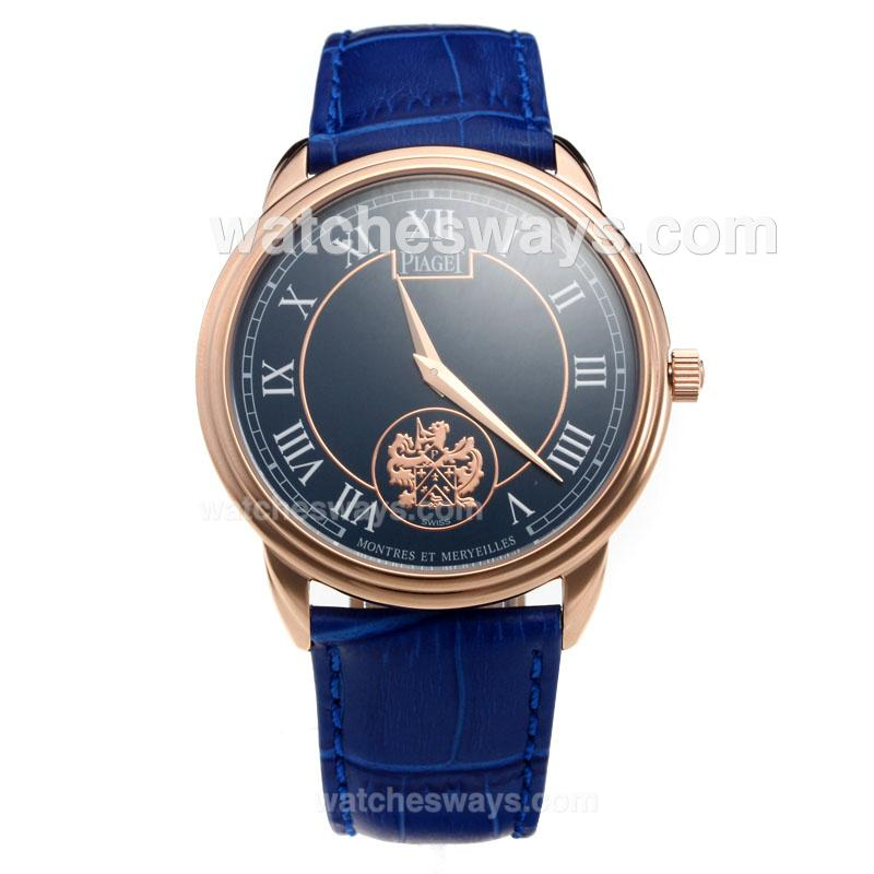 Replik Piaget Altiplano Rose Gold Case with Blue Dial-Leather Strap 215840