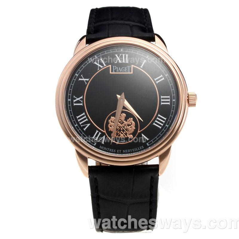 Replik Piaget Altiplano Rose Gold Case with Black Dial-Leather Strap 215836