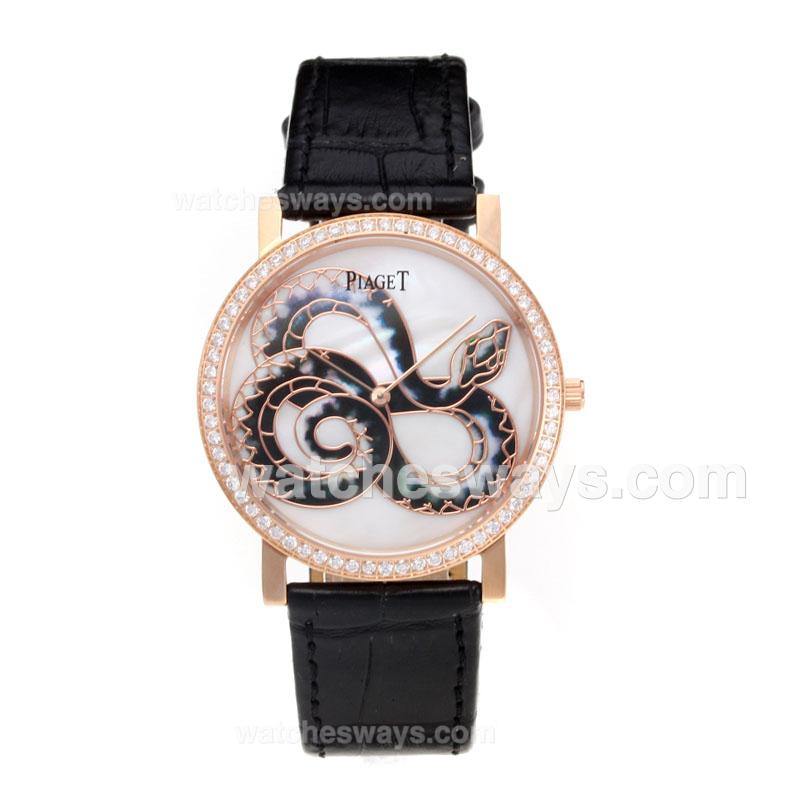 Réplique Piaget Dragon & Phoenix Collection Montre Lunette Sertie De Diamants Boîtier En Or Rose Avec Cadran Blanc Bracelet En Cuir 197524