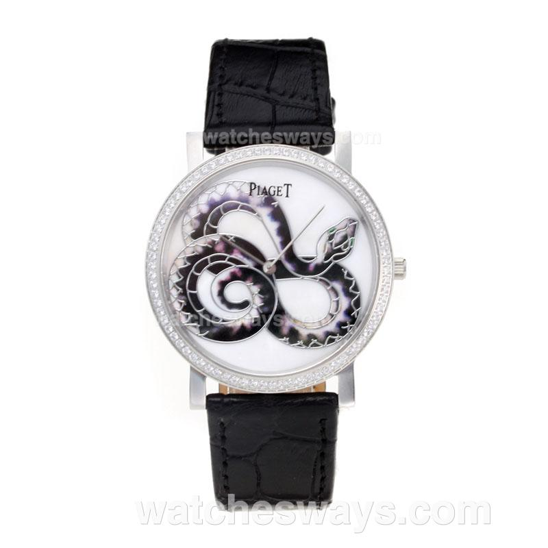 Réplique Piaget Dragon & Phoenix Collection Montre Lunette Sertie De Diamants Avec Cadran Blanc Bracelet En Cuir 197520