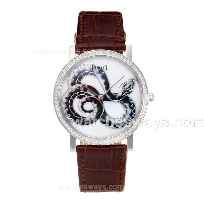 Réplique Piaget Dragon & Phoenix Collection Montre Lunette Sertie De Diamants Avec Cadran Bracelet En Cuir Blanc - 1 197518