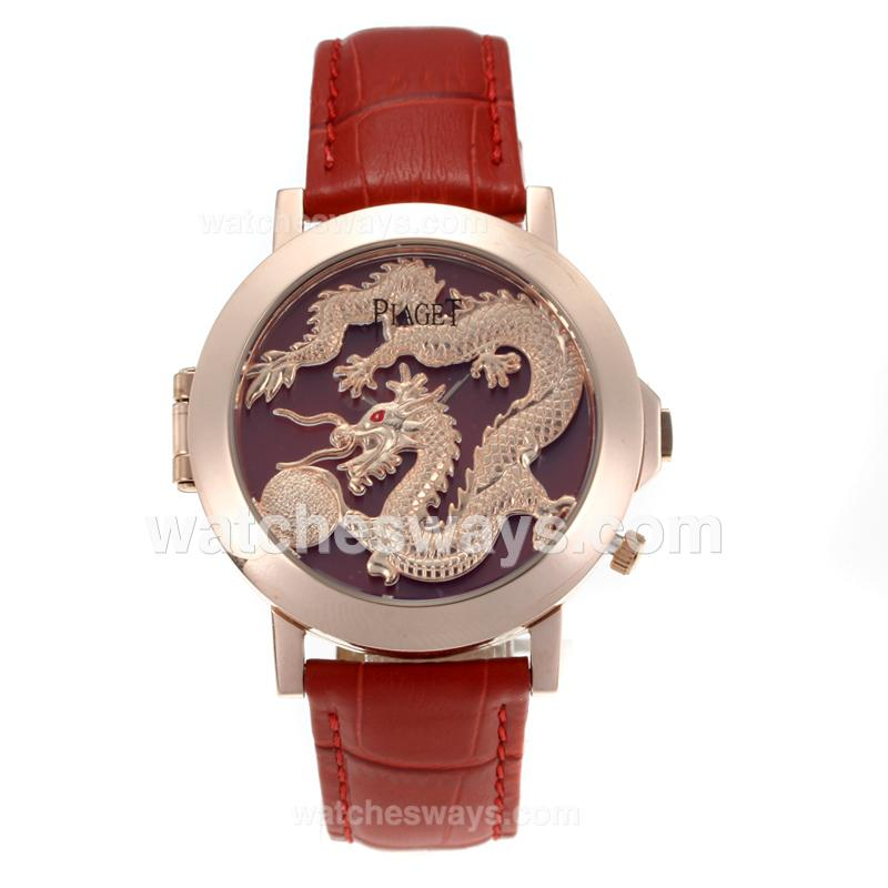 Réplique Piaget Dragon & Phoenix Collection Montre Boîtier En Or Rose Avec Cadran De Dragon Rouge Bracelet En Cuir 171184