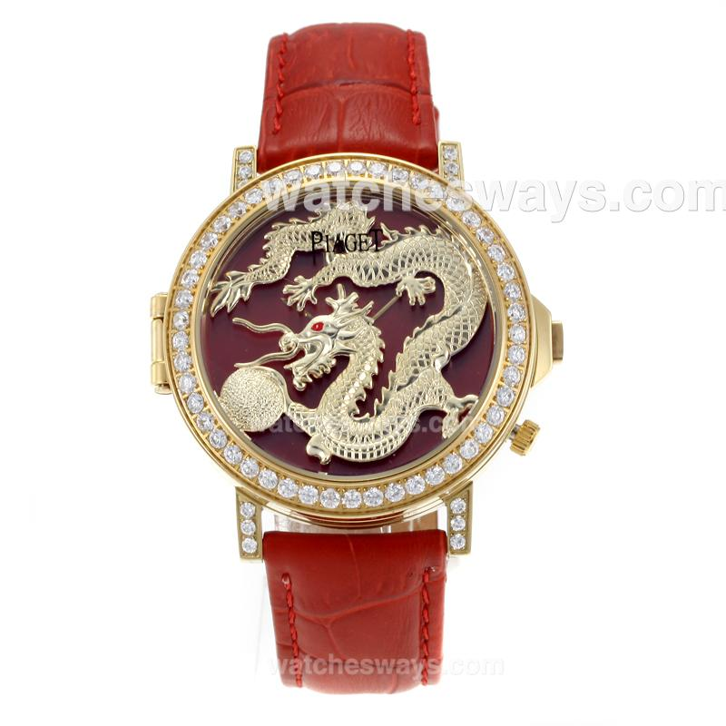 Réplique Piaget Dragon & Phoenix Collection Montre Boîtier En Or Jaune Lunette Sertie De Diamants Avec Cadran De Dragon Bracelet En Cuir Rouge 171182