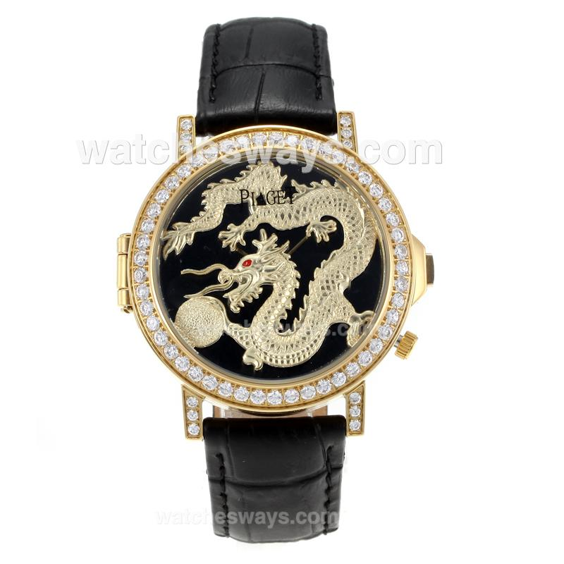 Réplique Piaget Dragon & Phoenix Collection Montre Boîtier En Or Jaune Lunette Sertie De Diamants Avec Cadran Dragon Bracelet En Cuir Noir 171176
