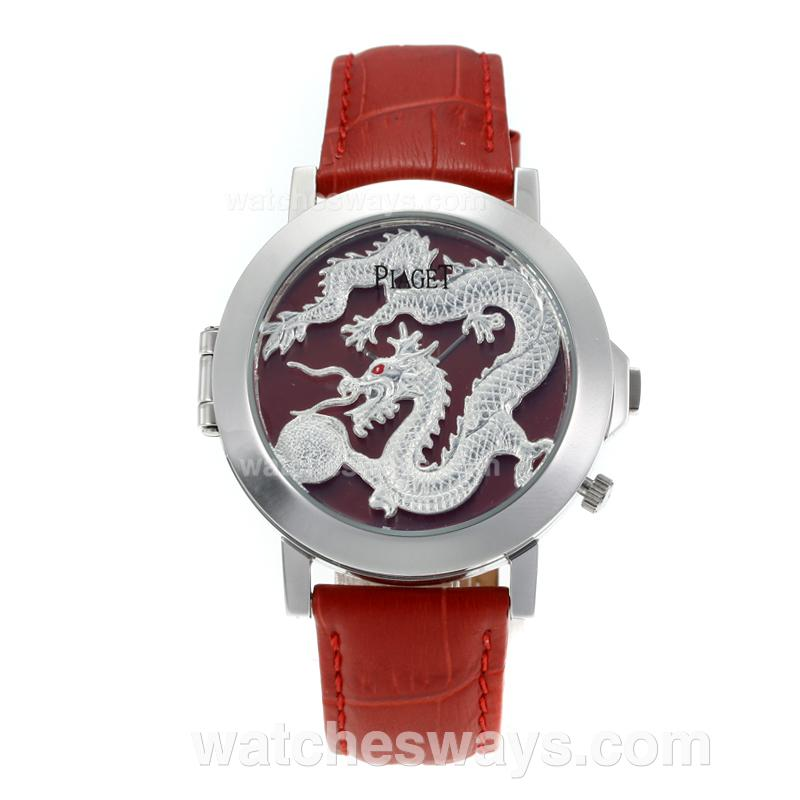 Réplique Piaget Dragon & Phoenix Collection Montre Avec Le Dragon Cadran Rouge Bracelet En Cuir 171190