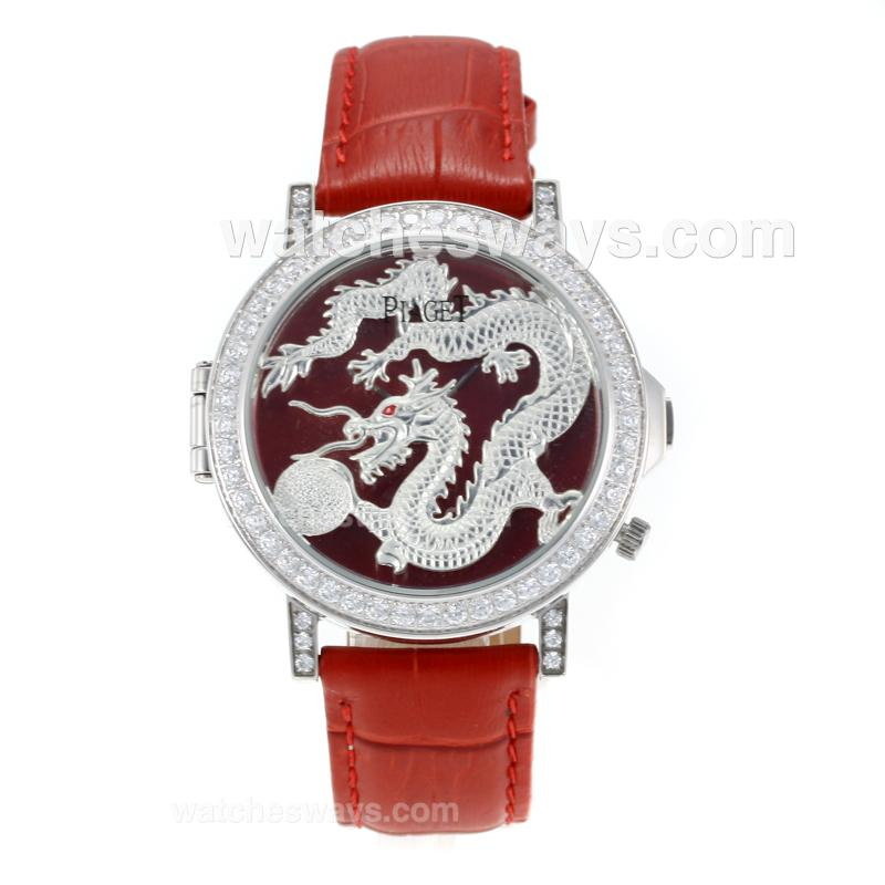 Réplique Piaget Dragon & Phoenix Collection Montre Lunette Sertie De Diamants Avec Cadran De Dragon Bracelet En Cuir Rouge 171188