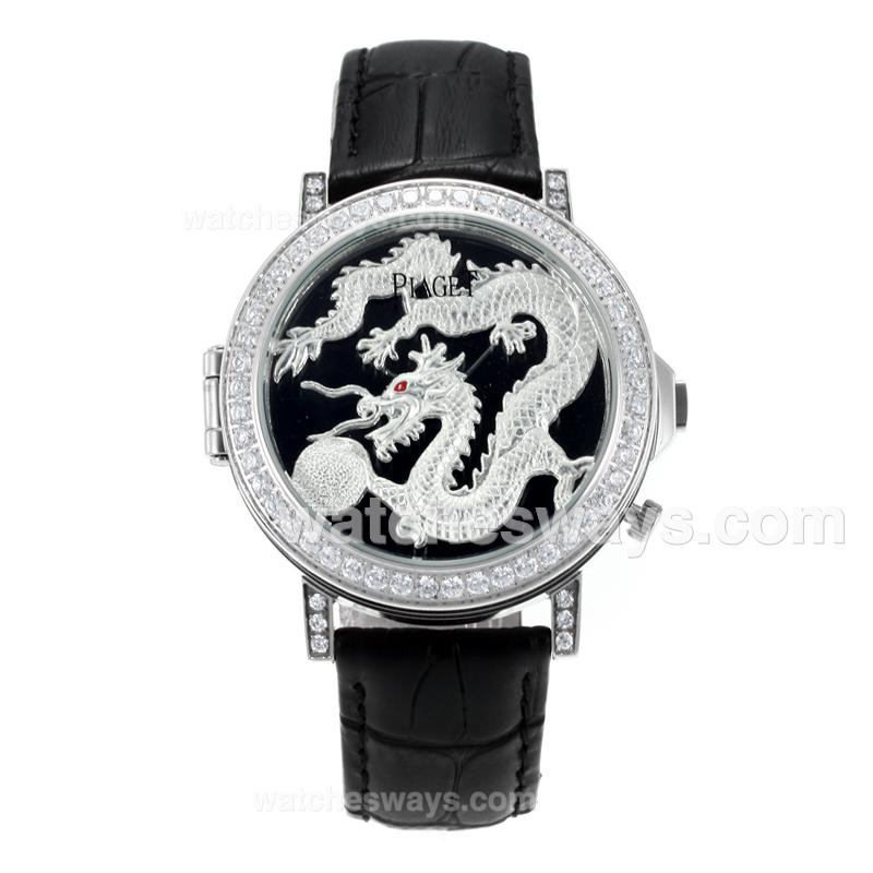 Réplique Piaget Dragon & Phoenix Collection Montre Lunette Sertie De Diamants Avec Cadran De Dragon Bracelet En Cuir Noir 171162
