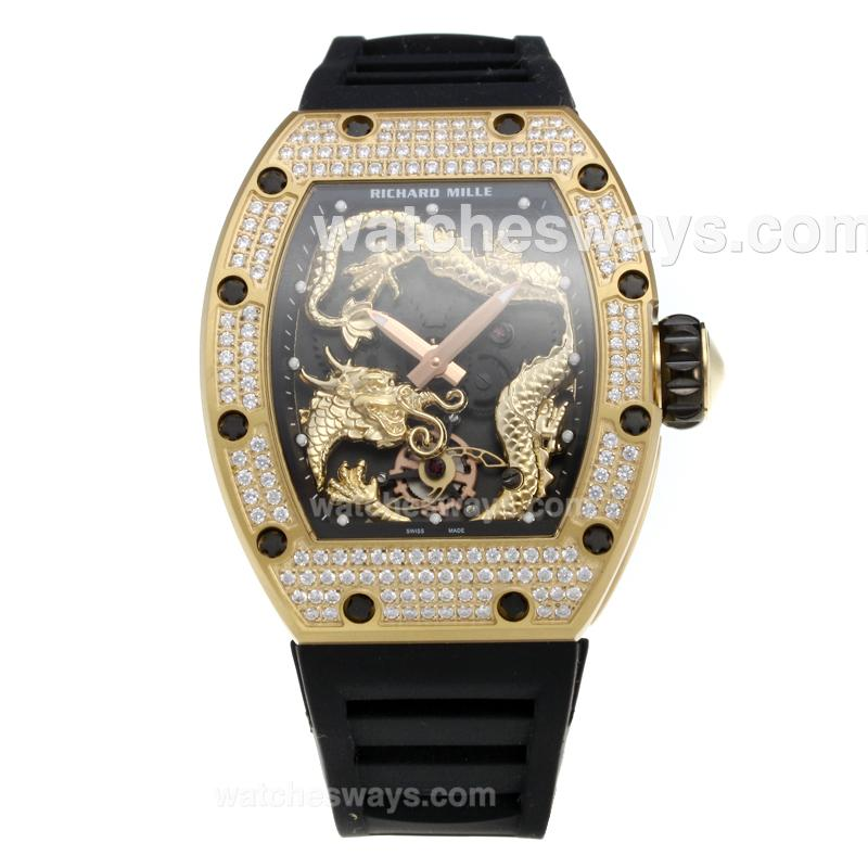 Réplique Richard Mille Montre Édition Spéciale Rm057 Jackie Chan Valjoux 7750 Cas Mouvement En Or Lunette Sertie De Diamants Avec Cadran De Dragon D'Or - Bracelet En Caoutchouc 215558