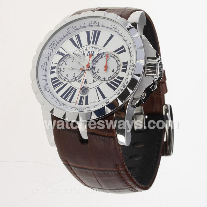 Replik Roger Dubuis Excalibur Automatic with White Dial-Leather Strap 224148