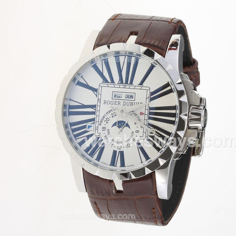 Replik Roger Dubuis Excalibur Automatic with White Dial-Leather Strap-1 222348