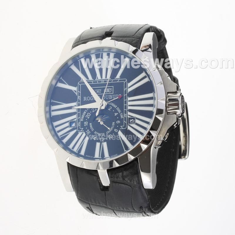 Replik Roger Dubuis Excalibur Automatic with Black Dial-Leather Strap-1 222342