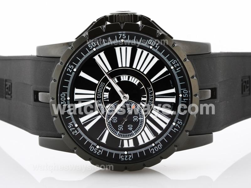 Replik Roger Dubuis Excalibur Small Seconds Automatic PVD Case with Black Dial 32493