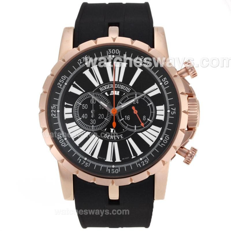 Replik Roger Dubuis Excalibur Chrono Working Chronograph Rose Gold Case with Black Dial 29589