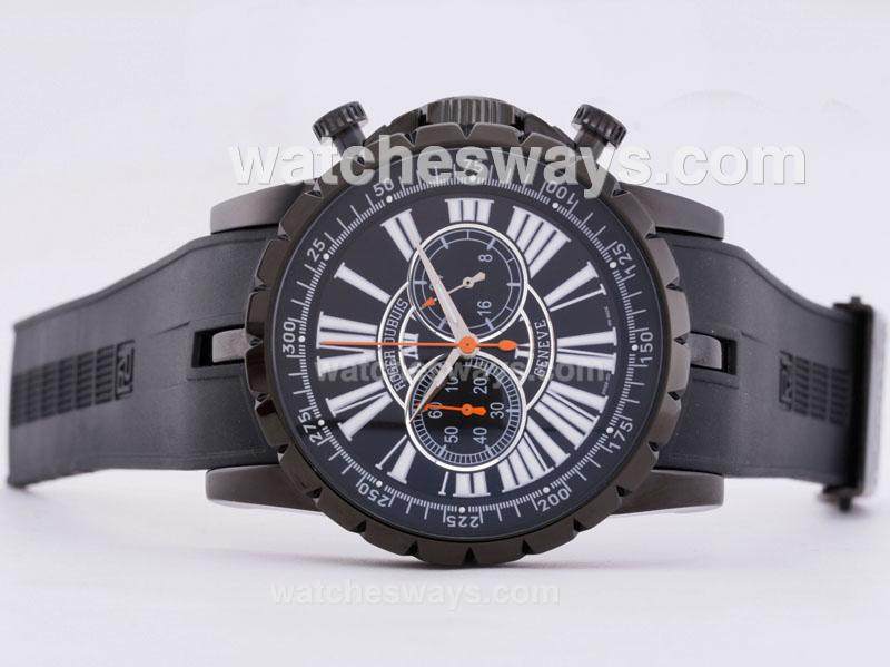 Replik Roger Dubuis Excalibur Chrono Working Chronograph PVD Case with Black Dial 29586