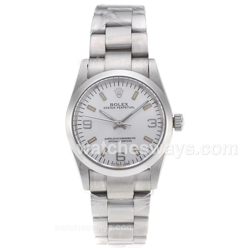 Replik Rolex Air-King Automatic with Silver Dial S/S-Sapphire Glass 61240