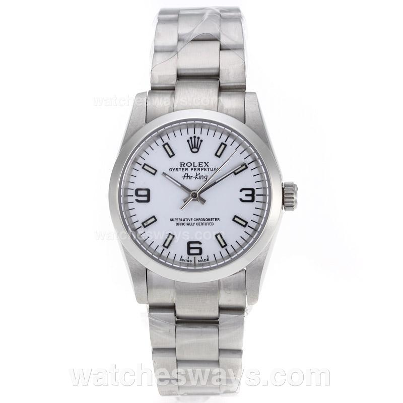 Replik Rolex Air-King Automatic with White Dial S/S-Sapphire Glass 61239