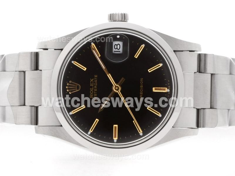 Replik Rolex Air-King Precision Automatic with Black Dial Gold Marking-Vintage Edition 35709