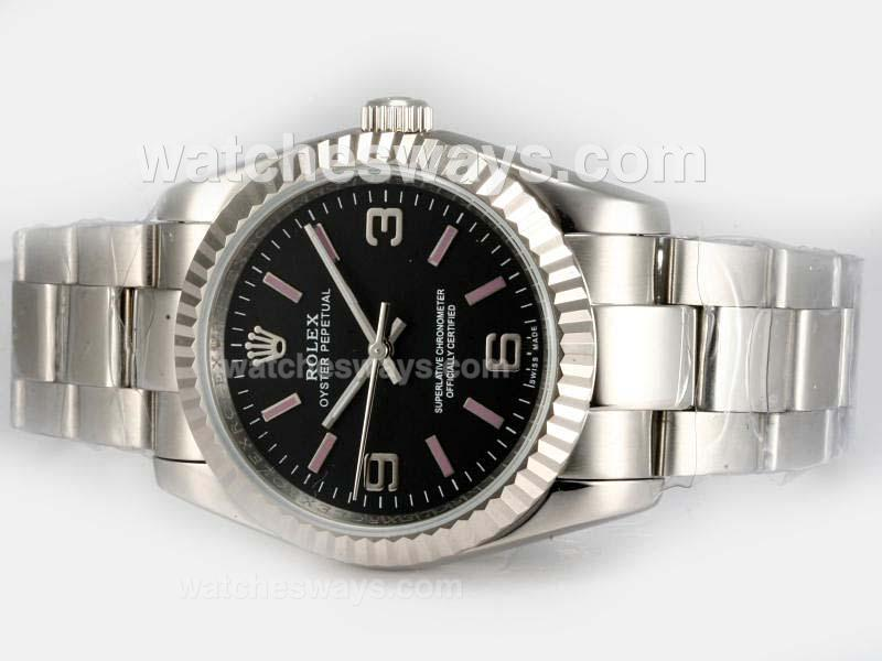 Replik Rolex Air-King Oyster Perpetual Automatic with Black Dial 1 18617