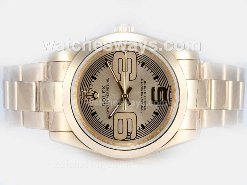 Replik Rolex Air-King Oyster Perpetual Automatic Full Gold with Golden Dial New Version 17828
