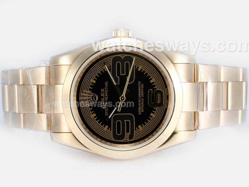 Replik Rolex Air-King Oyster Perpetual Automatic Full Gold with Black Dial New Version 17827