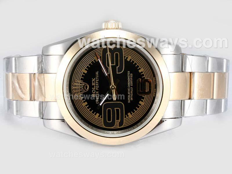 Replik Rolex Air-King Oyster Perpetual Automatic Two Tone with Black Dial New Version 17466