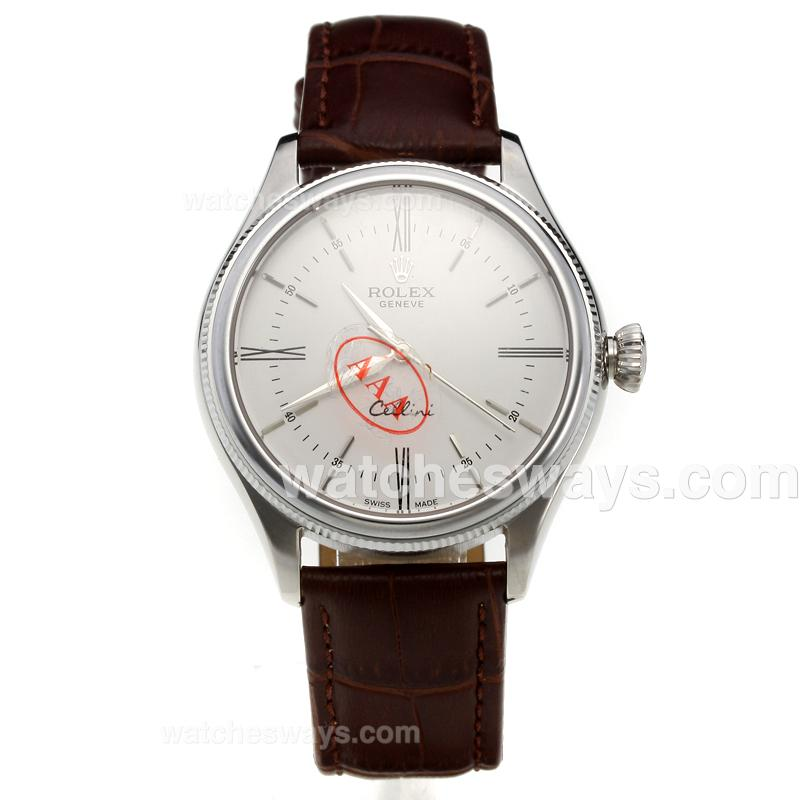 Replik Rolex Cellini Automatic with White Dial-Leather Strap-5 218866