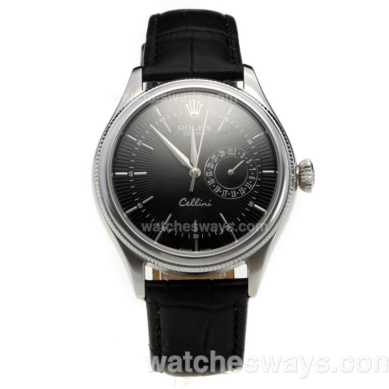 Replik Rolex Cellini Automatic with Black Dial-Leather Strap-2 218864