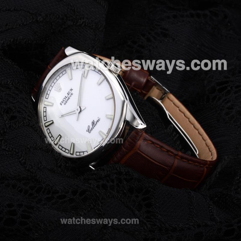 Replik Rolex Cellini Luminous Swiss ETA Movement with White Dial Leather Strap-Sapphire Glass(Gift Box is Included) 194534