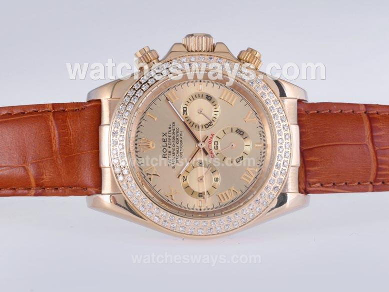 Réplique Rolex Daytona Montre Automatique Or Cas Avec Lunette Sertie De Diamants Dail Or - Marquage Romain 25621