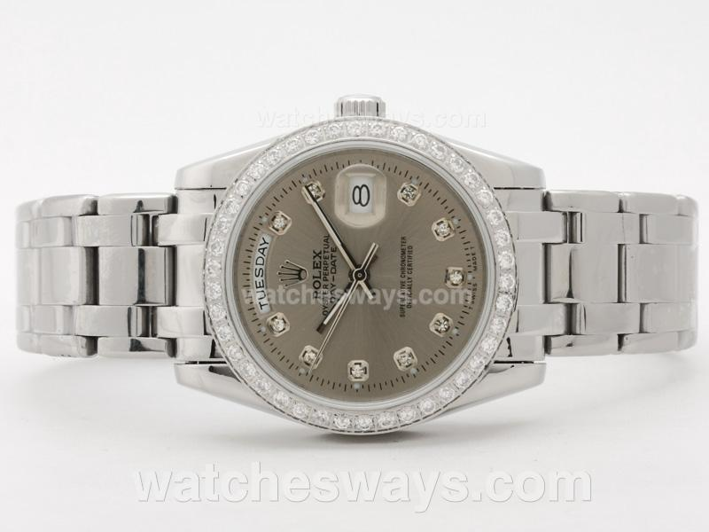 Replik Rolex Masterpiece Automatic Diamond Bezel and Marking with Gray Dial 31086