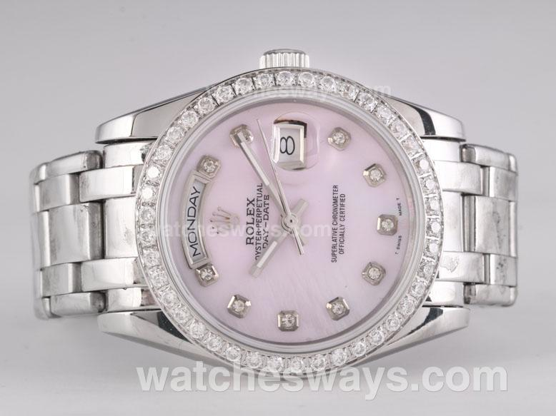 Replik Rolex Masterpiece Automatic Diamond Marking and Bezel with Pink Dial 25782