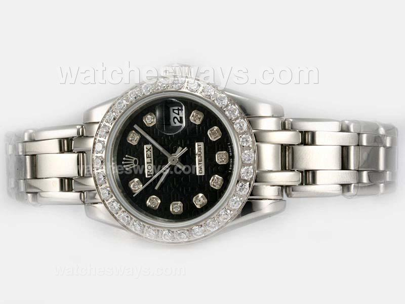 Replik Rolex Masterpiece Automatic Diamond Bezel and Marking with Black Computer Dial 1 20198