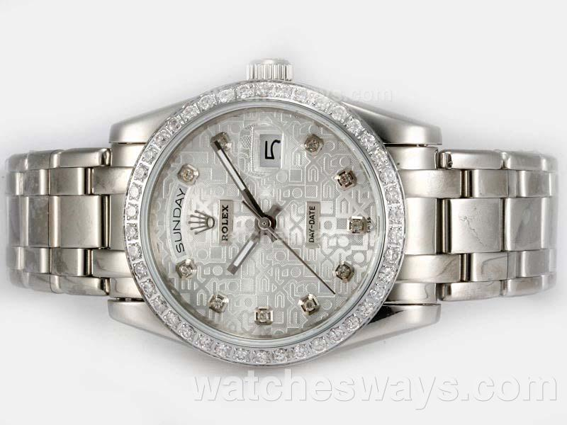 Replik Rolex Masterpiece Automatic Diamond Bezel and Marking with Silver Computer Dial 20200