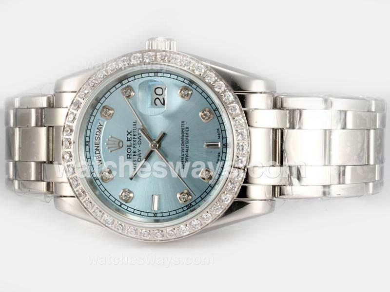 Replik Rolex Masterpiece Automatic Diamond Bezel and Marking with Blue Dial 18616