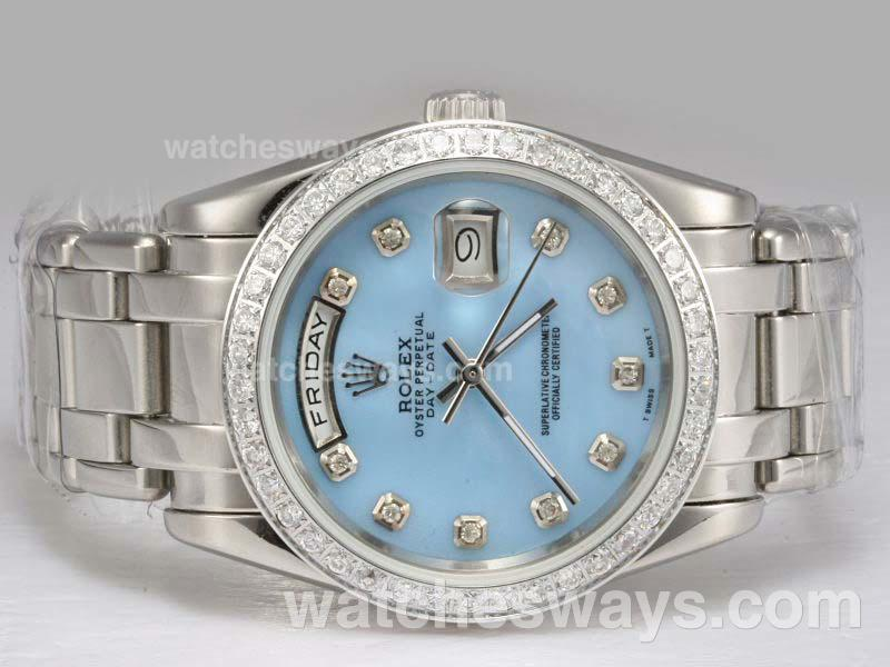 Replik Rolex Masterpiece Automatic Diamond Bezel and Marking with Blue Dial 1 11711