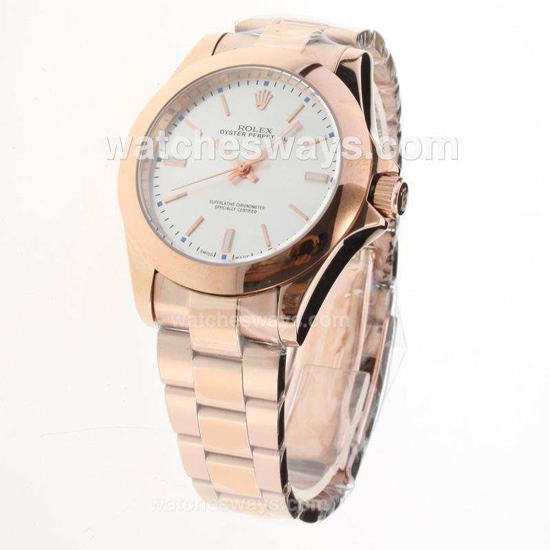 Replik Rolex Oyster Perpetual Automatic Full Rose Gold Stick Markers with Silver Dial 224258