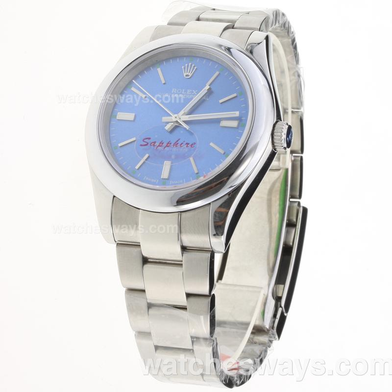 Replik Rolex Oyster Perpetual Automatic Stick Markers with Blue Dial S/S-1 223678