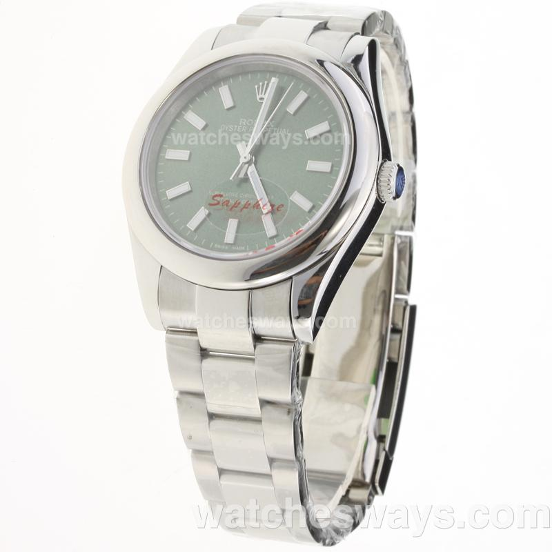 Replik Rolex Oyster Perpetual Automatic Stick Markers with Green Dial S/S 223676