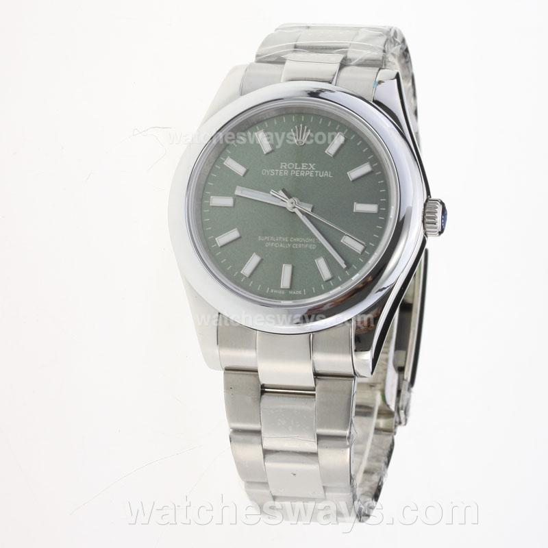 Replik Rolex Oyster Perpetual Automatic Luminous Stick Markers with Green Dial S/S 222848