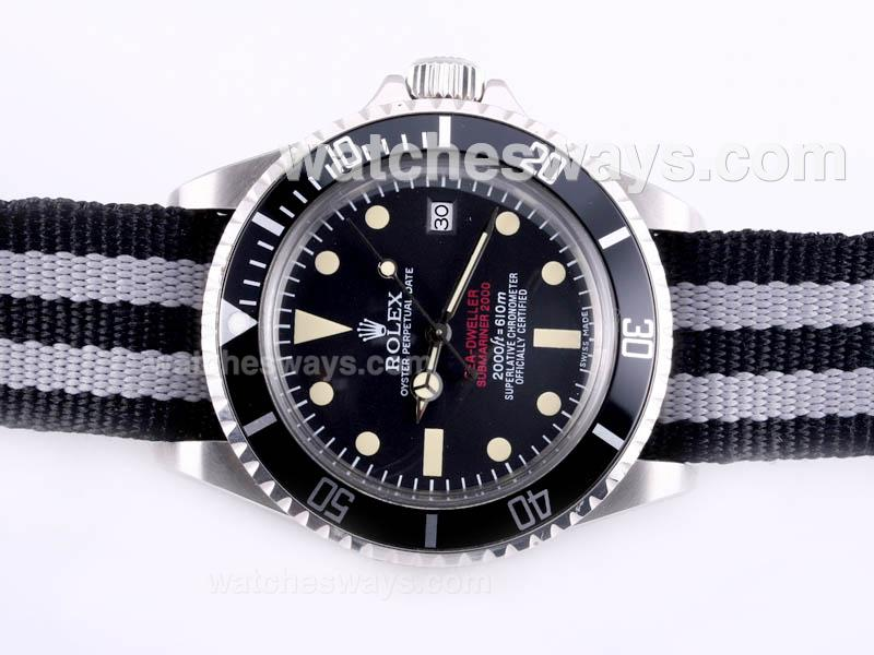 Replik Rolex Sea Dweller Submariner 2000 Ref.1665 Automatic with Black Dial and Bezel-Nylon Strap Vintage Edition 23284