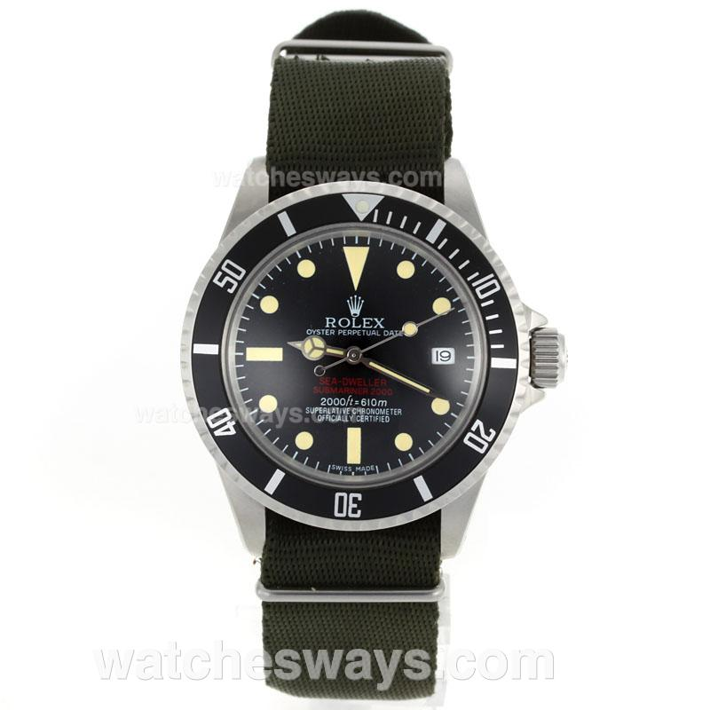 Réplique Rolex Sea-Dweller Montre Submariner 2000 Ref.1665 Édition Vintage - Vert Sangle En Nylon 23282