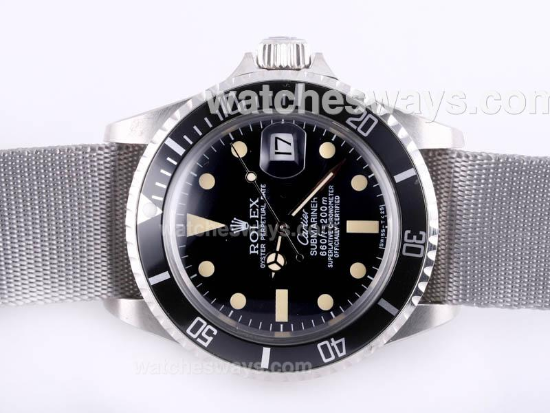 Réplique Rolex Submariner Montre Cartier Automatique Avec Lunette Noire Et Cadran Version Vintage - Gris Sangle En Nylon 23288