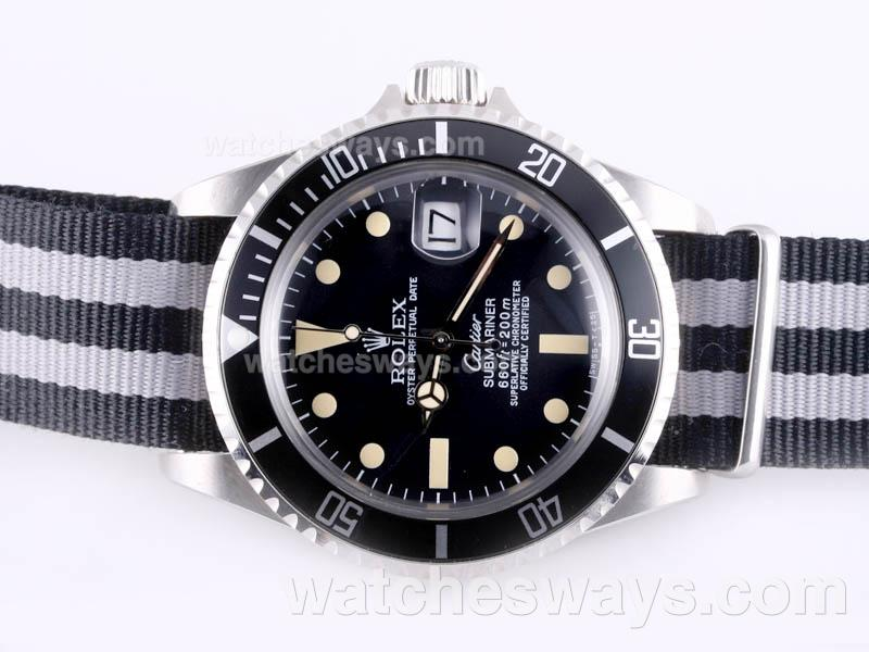 Réplique Rolex Submariner Montre Cartier Automatique Avec Lunette Noire Et Cadran Version Vintage - Sangle En Nylon 23287